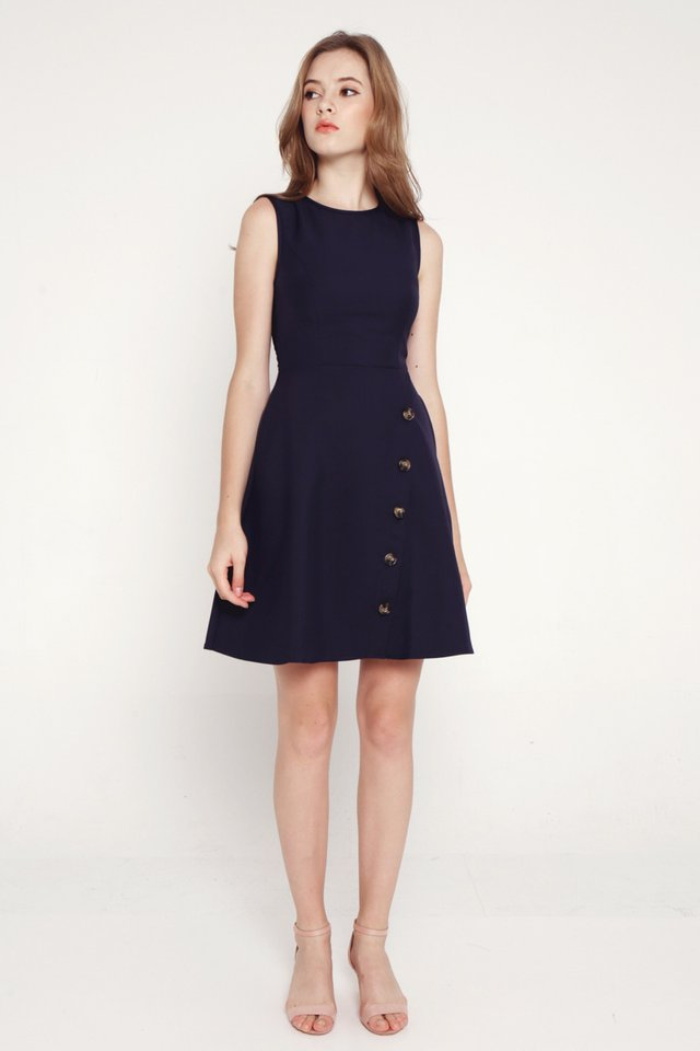 Roxanna Slant Button Dress (Navy Blue)