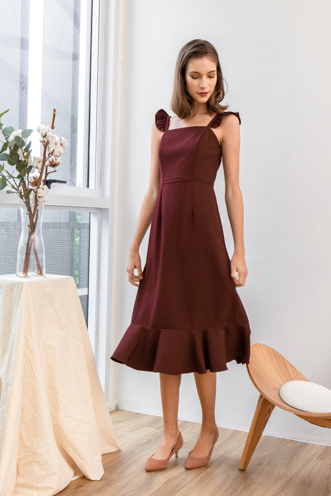 f1209129c497 Emila Ruffled Straps Midi Dress in Wine Red