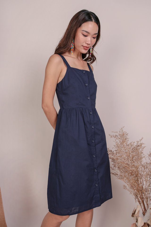 Laurie Button Down Dress (Navy)