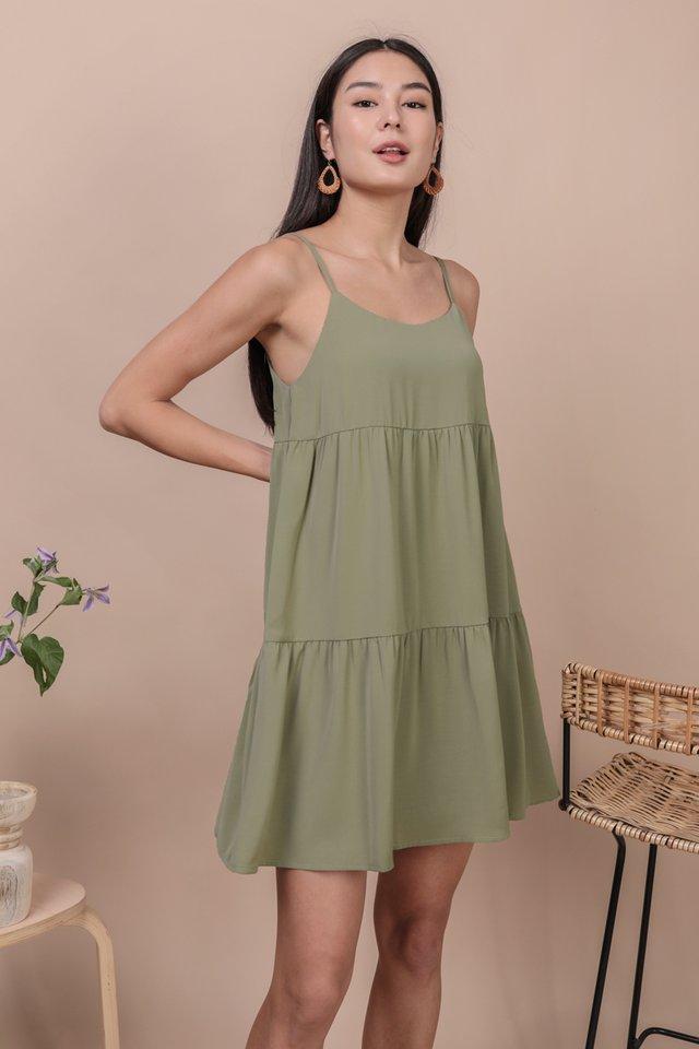 Emmy Tiered Spag Dress (Sage Green)