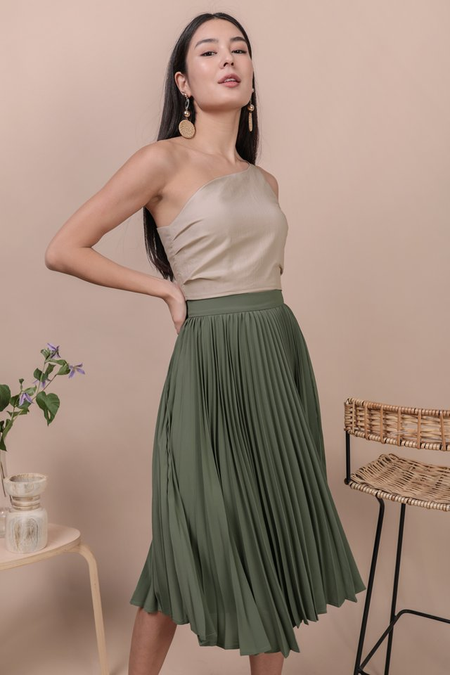 Courtney Pleated Midi Skirt (Sage Green)