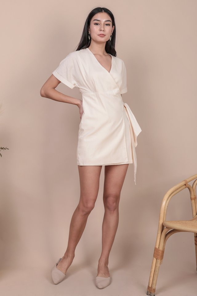 Callie Wrap Front Dress (Cream)