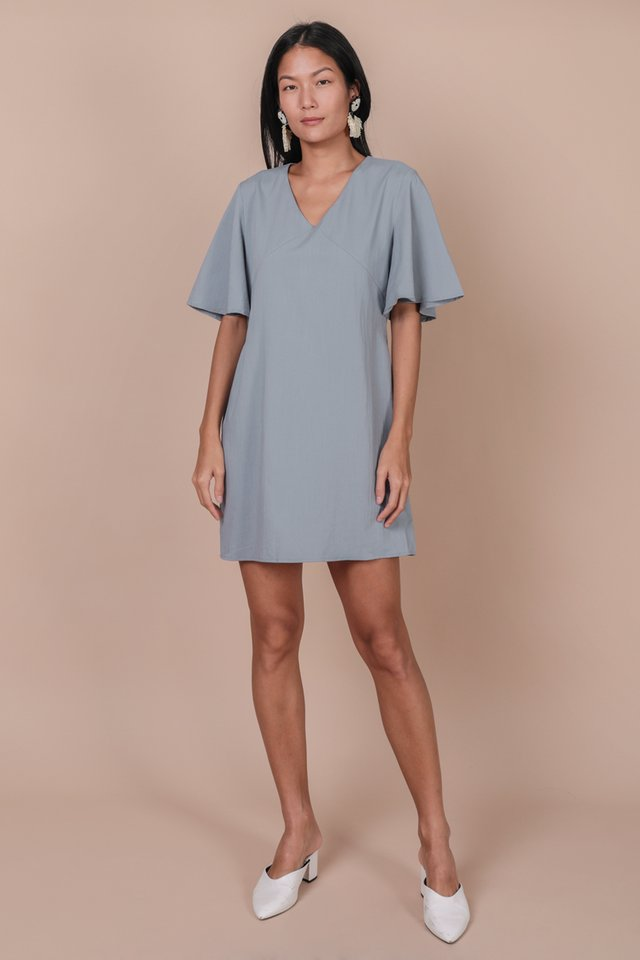Verona Flare Sleeve Dress (Dusty Blue)