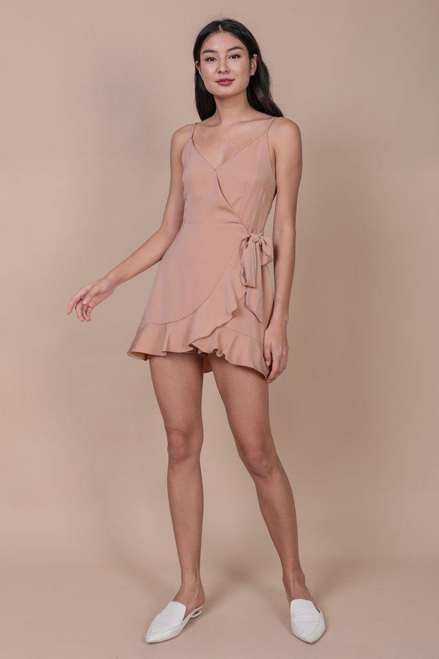 Gwen Wrap Front Romper (Dusty Pink)