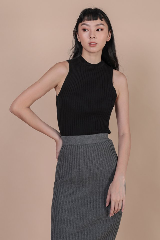 Kira High Neck Top (Black)