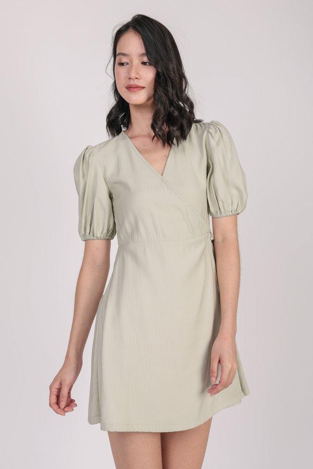 Terri Wrap Front Dress (Light Mint)