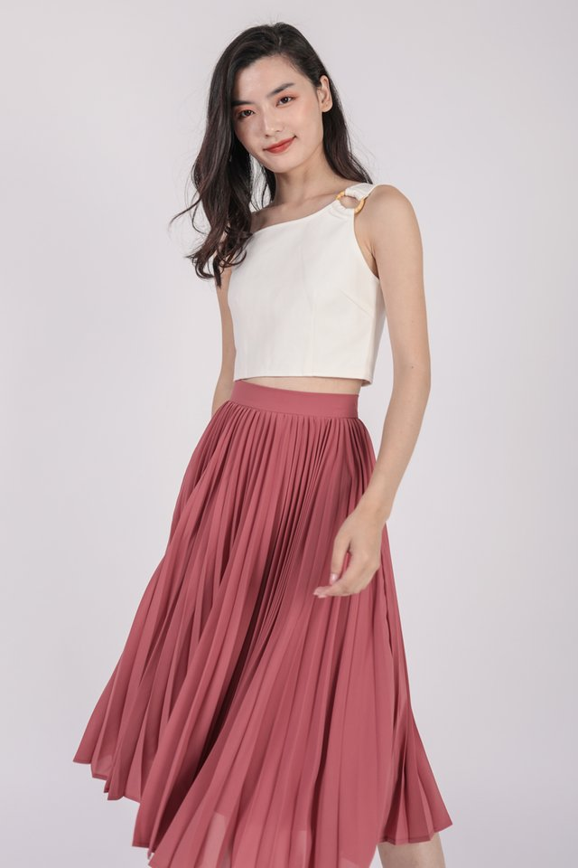 Courtney Pleated Midi Skirt (Rose Pink)