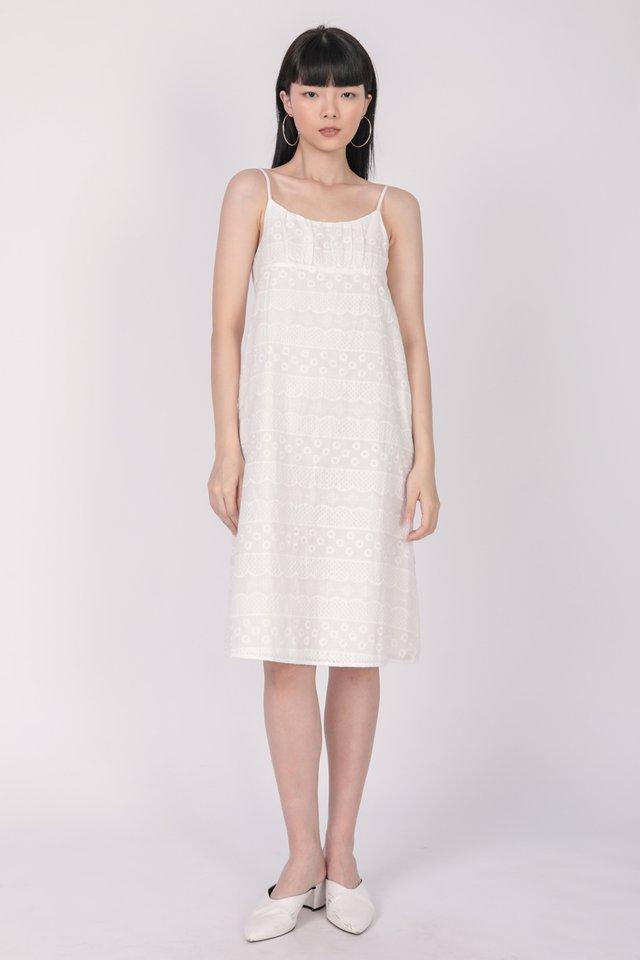Medina Midi Dress (White Embroidery)