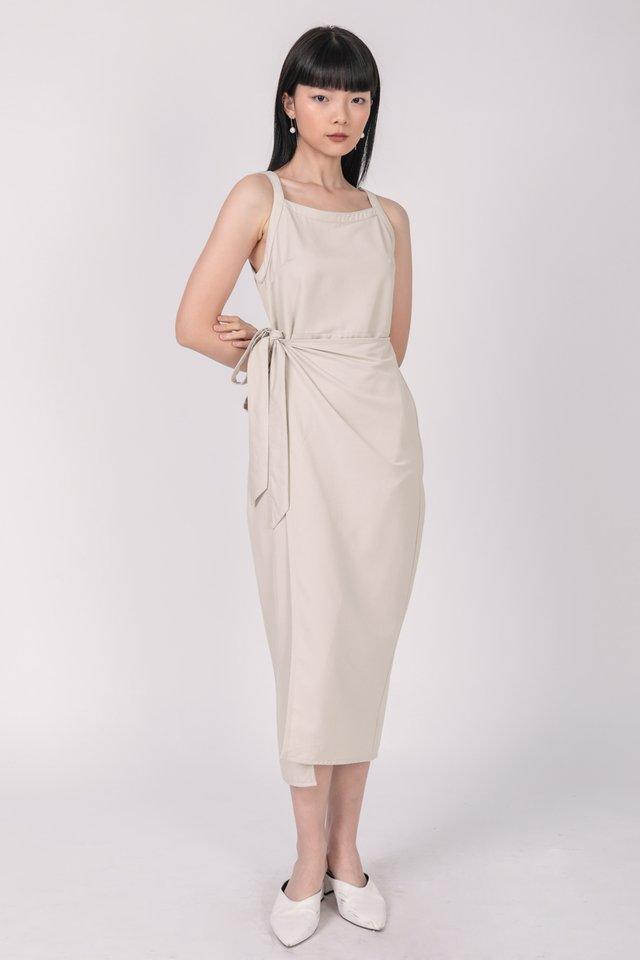 Finley Wrap Dress (Beige)