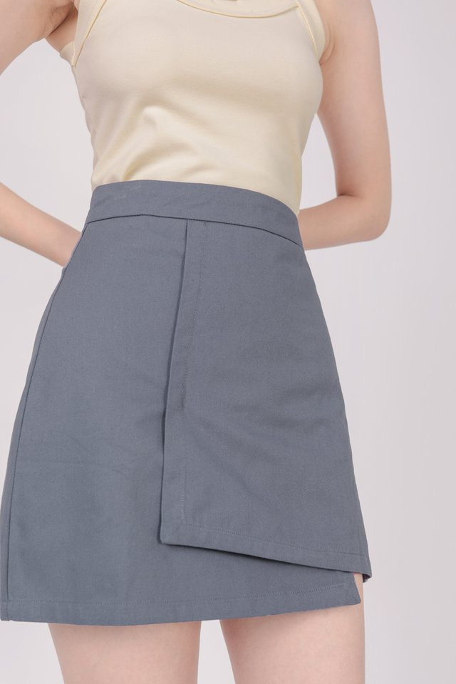 Louie Asymmetrical Skirt (Dusty Blue)
