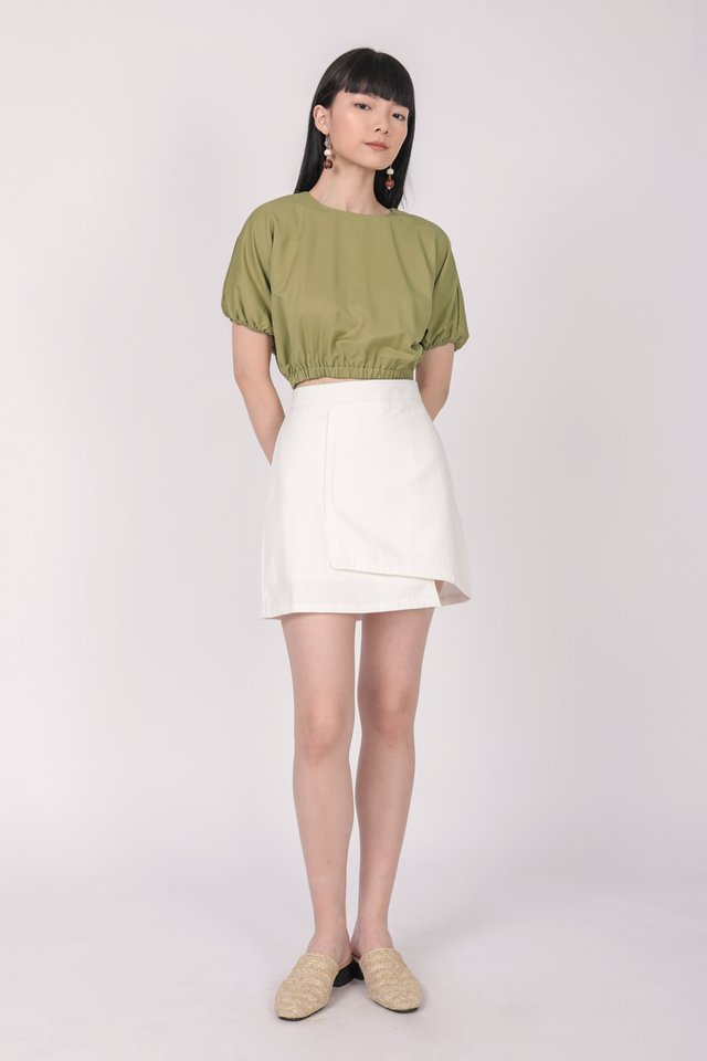 Louie Asymmetrical Skirt (White)